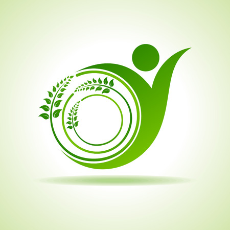 naturally: Eco people celebration icon with leaf design vector