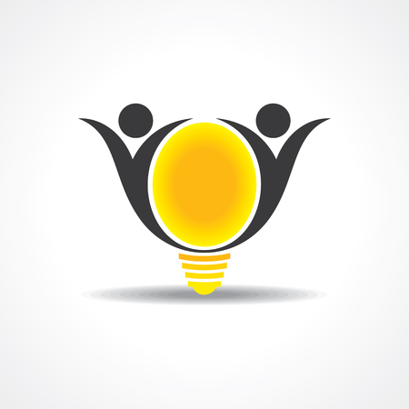 accomplish: vector icon of happy people  light bulb stock vector
