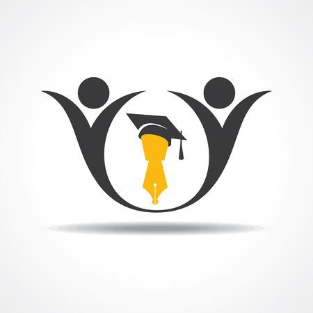 卒業キャップとペンのアイコンと幸せな学生。教育のシンボル株式ベクトル
