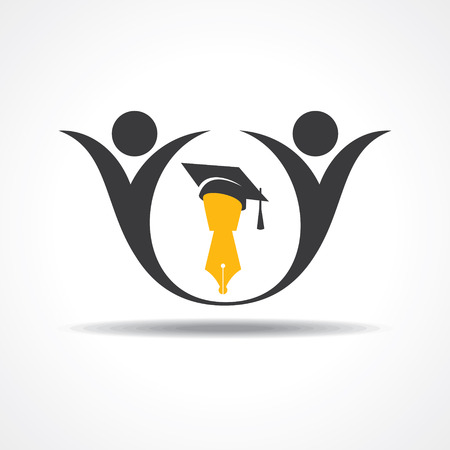 happy students with graduation cap and pen icon. educational symbol stock vector