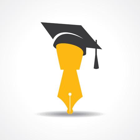 graduacion de universidad: pluma con el icono del casquillo de la graduaci�n. s�mbolo educativa vectoriales Vectores