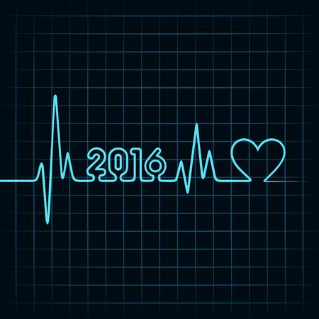 ハートビートと心のシンボル株式ベクトルで創造的な新しい年 2016年デザイン  イラスト・ベクター素材