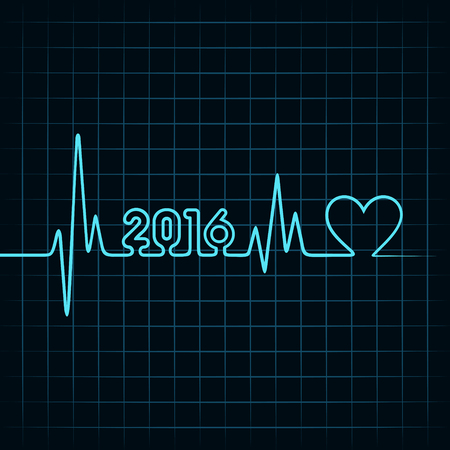 creative New Year 2016 design with  heartbeat and heart symbol stock vector
