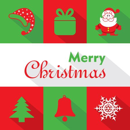 greetings card: Christmas Celebration symbols stock vector Illustration