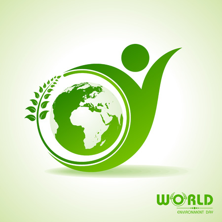world icon: world environment day greeting design Illustration