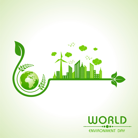 environment friendly: world environment day greeting design Illustration