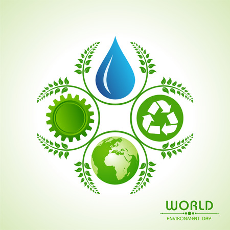save planet: world environment day greeting design Illustration