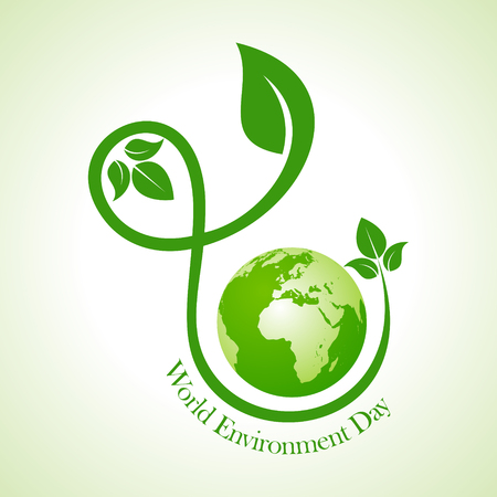 go green icons: world environment day greeting design Illustration