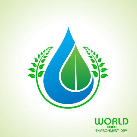 water drops on leaf: world environment day greeting design stock vector Illustration