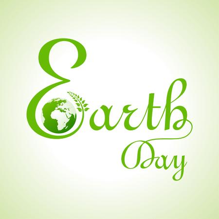 erde: Kreative glücklich Erde Tag Text und Gruß Stock Vektor Illustration