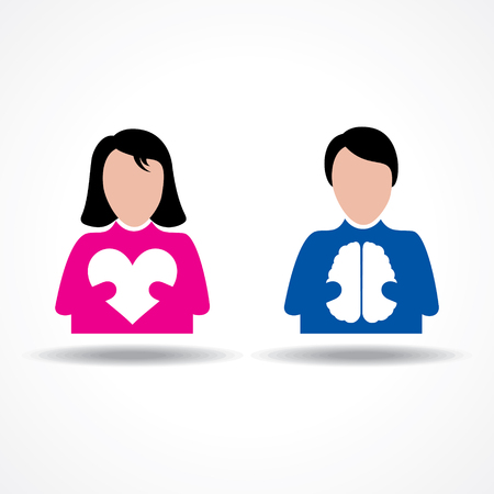 rational: Male Female icon having heart and brain stock vector Illustration