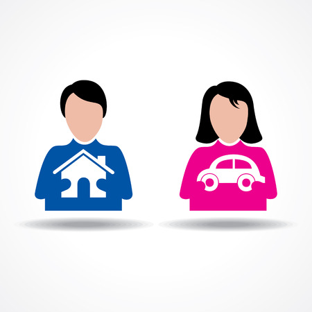 stock car: Male Female thinking about their home and car stock vector Illustration