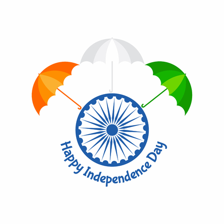 Independence Day greeting with tricolouered umbrella stock vector