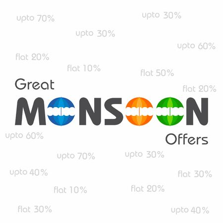 monsoon clouds: Big Monsoon sale banner for different discounts stock vector