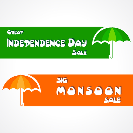 monsoon: Big Monsoon and Independence Day sale banner for different discounts stock vector Illustration