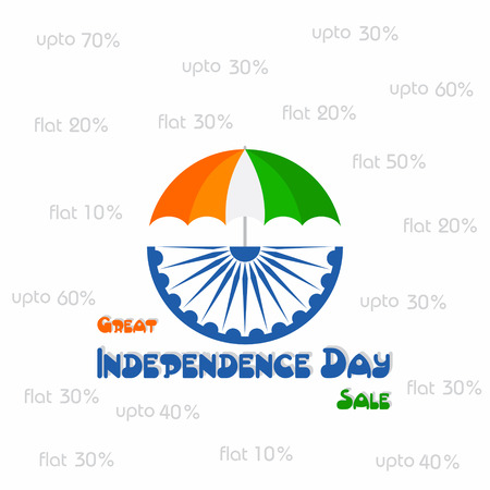 asoka: Independence Day sale greeting with tricolouered umbrella stock vector