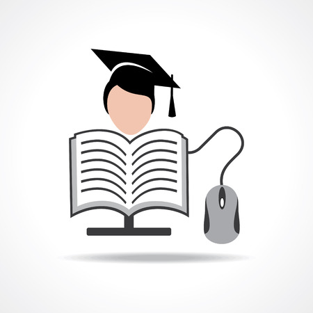 studying computer: Computer education concept stock vector Illustration