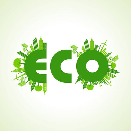 construction firm: Eco city concept with eco text stock vector Illustration