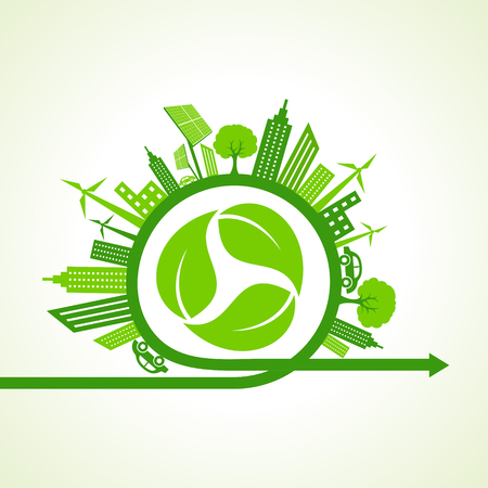 global work company: Eco city concept with recycle icon of leaf stock vector Illustration