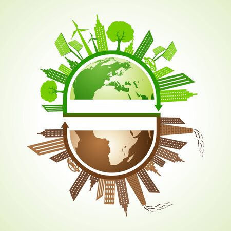 polluted: Eco and polluted city concept with earth stock vector