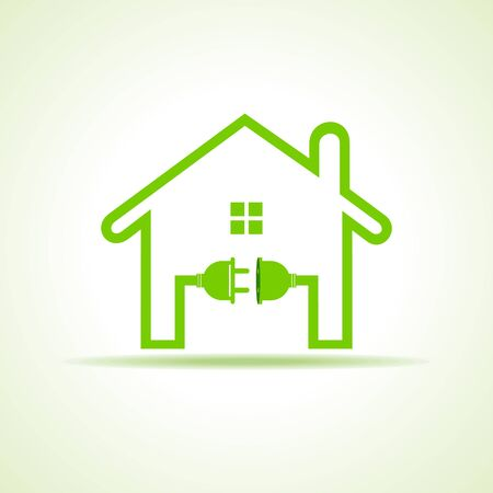 eco home: Eco home concept with plug and holder stock vector