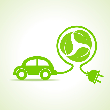 eco car: Eco car concept with recycle icon of leaf stock vector Illustration