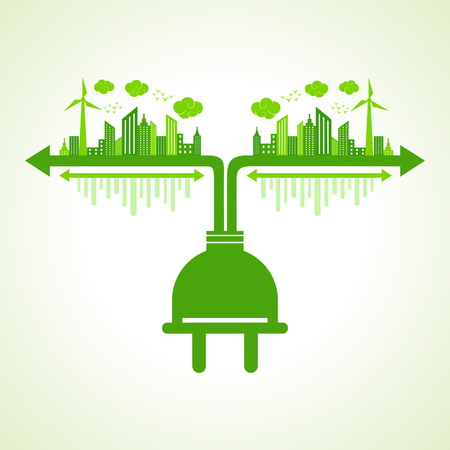 Eco city concept with plug stock vector Illustration