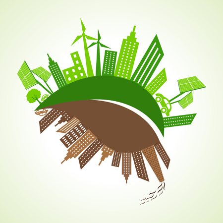 polluted: Eco and polluted city concept with leaf stock vector