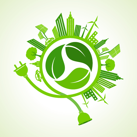 recycle icon: Eco city concept with recycle icon of leaf stock vector Illustration