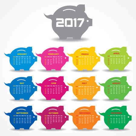 Vector Illustration of Creative New Year calender for 2017 Illustration