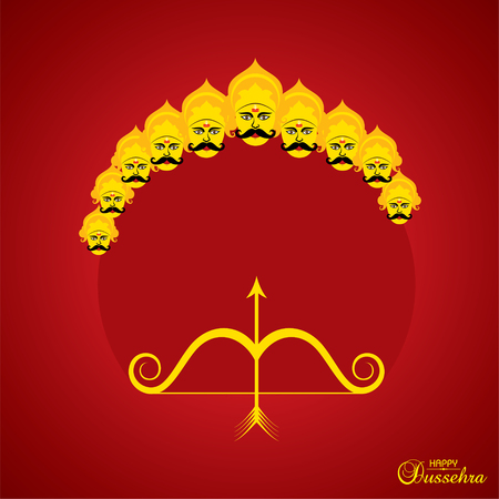 dussehra festival greeting or poster design stock vector Illustration