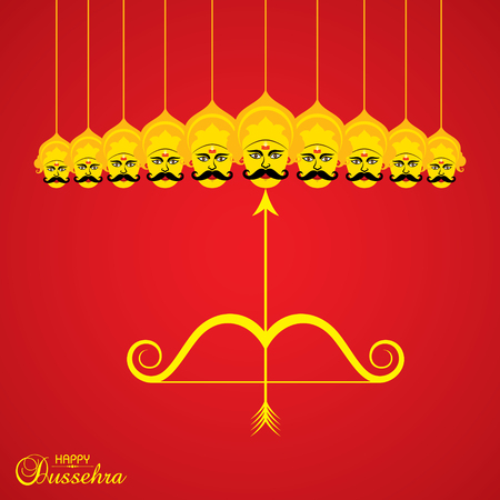 Dussehra festival greeting or poster design stock.