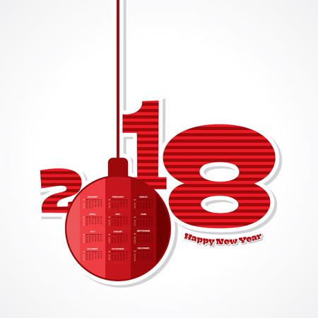 event planner: Illustration of 2018 Calendar for new year celebration Illustration