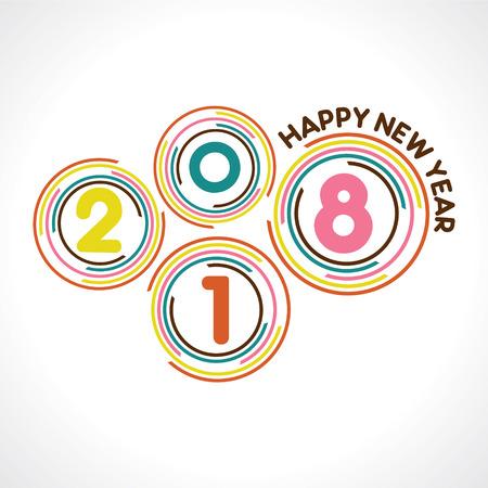 Illustration of 2018 greeting for new year celebration.