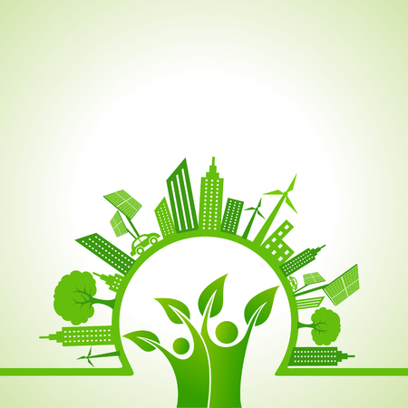 Ecology concept with eco cityscape - vector illustration Stock Illustratie