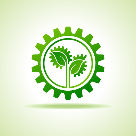 Save Nature and go green concept with eco gear stock vector Illustration