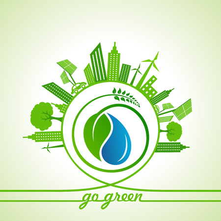 Eco Energy Concept with leaf,cityscape and water drop stock vector