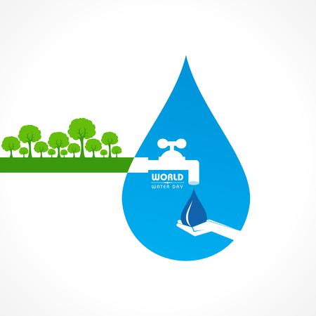 sauver le concept de la nature - la journée mondiale de l & # 39 ; eau stock Vecteurs