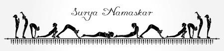 illustration of woman doing SURYA NAMASKAR for International Yoga Day  イラスト・ベクター素材