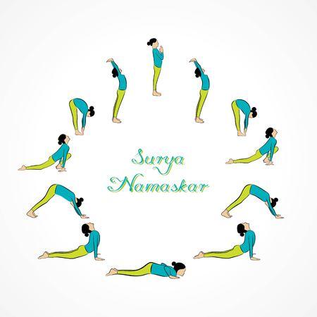 illustration of woman doing SURYA NAMASKAR for International Yoga Day Ilustração
