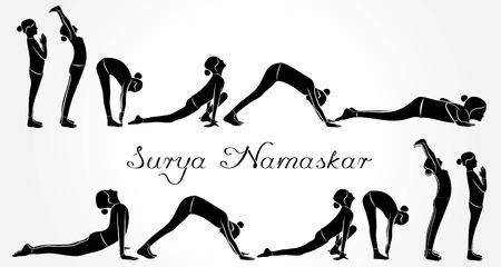 illustration of woman doing SURYA NAMASKAR for International Yoga Day Vettoriali