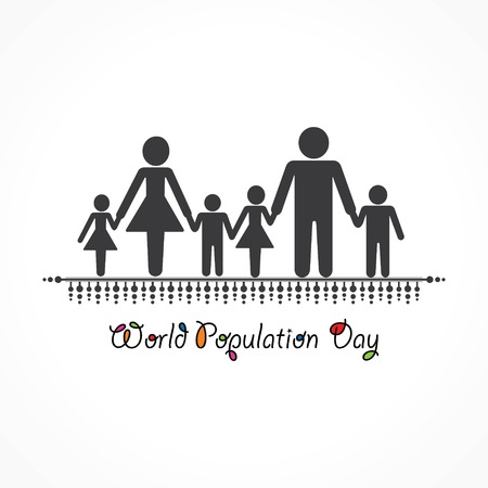 Bandiera dell'illustrazione di giornata mondiale della popolazione Vettoriali