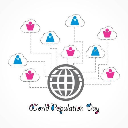 Illustrazione della giornata mondiale della popolazione Vettoriali