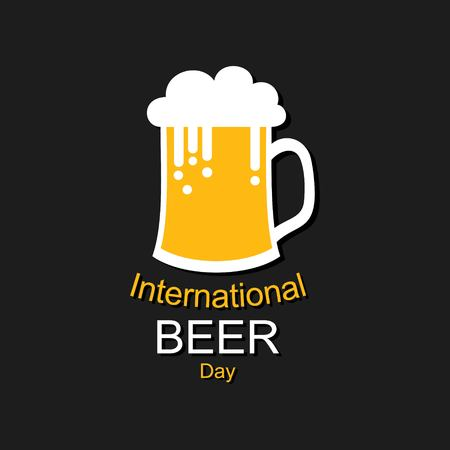 International Beer Day in August with beer mugs conceptual illustration vector Vectores