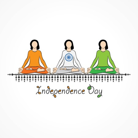 Vector Illustration of Indian Independence Day concept background with Ashoka wheel Illustration