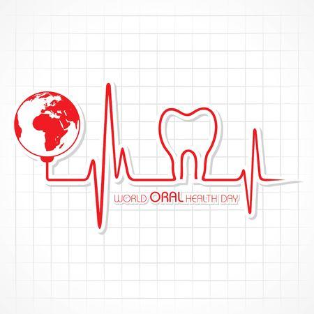 Giornata mondiale della salute orale design, 20 marzo, illustrazione vettoriale Vettoriali