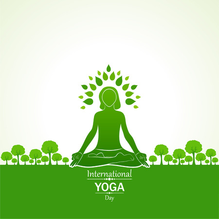 Illustration der Frau, die YOGASAN für internationalen Yoga-Tag am 21. Juni tut