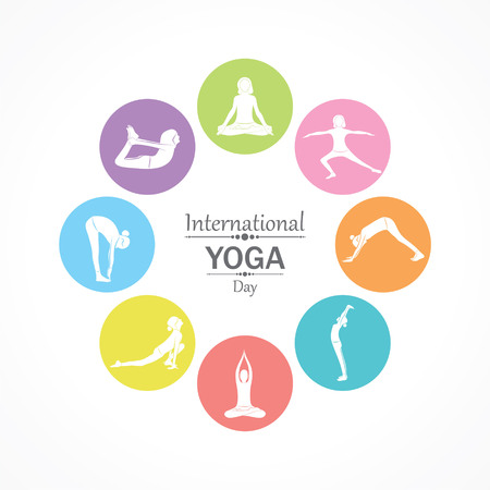 illustration of woman doing YOGASAN for International Yoga Day on 21st June