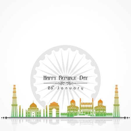 Happy Republic Day of india illustration vector, poster design stock vector Çizim