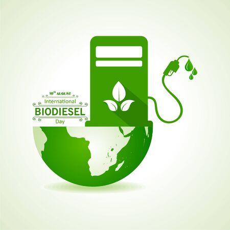 Ilustración del saludo del Día Internacional del Biodiesel para el Medio Ambiente Ecológico - 10 de agosto